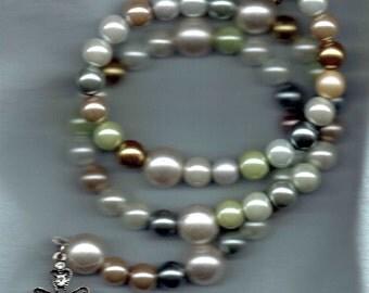 Pearls  en Verre Coil Wrap Around 5 decade Rosary Bracelet