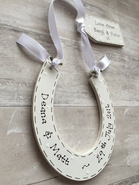 Personalised Wedding Horseshoe Gift : Personalised Traditional Wedding Lucky Horseshoe & Gift Tag ~ Bespoke ...