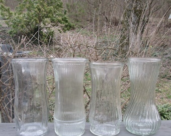 Large Vintage Clear Glass Vases - Choice of One of Four