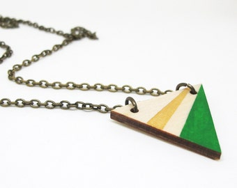 Geometric Painted Wood Triangle Necklace - Gold and Green Angle