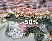 50% off - JANUARY SALE Textured Nuno Felt Shawl Wrap - Pink Grey White One of a Kind Upcycled Vintage Lace Doilies