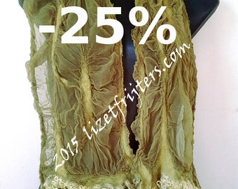 JANUARY SALE Light Green Curly Nuno Felted Scarf  Eco Fashion Casual Wear Everyday Wear