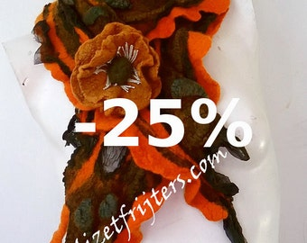 JANUARY SALE Orange and Grey Textured Nuno Felted Scarf with Flower Winter Scarf Eco Fashion Eco Printed