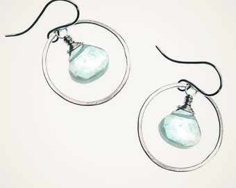 hoop earrings with aqua blue teardrop, handmade hammered hoop earrings, sterling silver