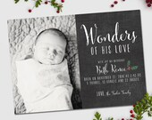 Christmas birth announcement, Wonders of His Love, chalkboard style Christmas card and baby announcement, Christmas Baby Announcement