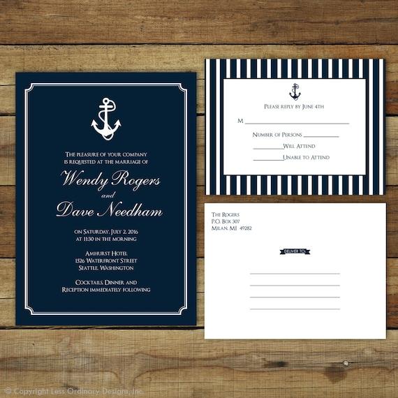 Nautical Wedding Invitations Anchor Wedding By