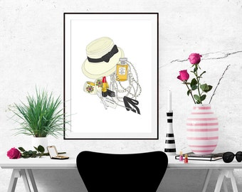 Coco Chanel What's in my Bag Portrait Fashion Illustration Art Poster
