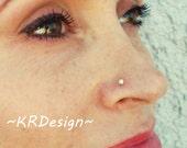 "Sterling Silver-14K Gold-Swarovski Crystal-""Aurora Borealis""-Nose Stud-Tragus-Earrings-Customized / Free US Shipping"