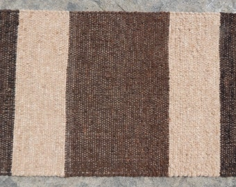 Alpaca Rug Hand Woven Shades of Brown Grey and Black Handmade Runner