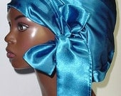 Sweet Sleep Satin Slumber Bonnet Cap-Sapphire Blue