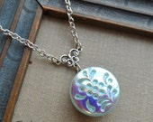 Vintage Glass Button Necklace, Love in the Mist