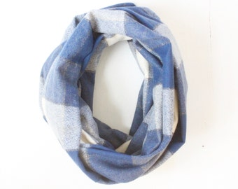 Infinity Scarf - Plaid - Flannel - Oversized - Blue, Cream, and Black - Shades of Denim - Warm - Winter- Cozy - Unisex