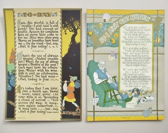 Illustrated verse prints pair two vintage early 1900s Douglas Malloch Anne Campbell Buckbee Brehm and Gibson