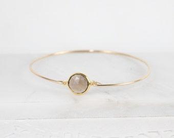 Smoky Quartz Gold Filled Bangle Bracelet, Gold Bracelet, Smoky Brown Bangle Bracelet, Brown and Gold Bracelet, Summer Bracelet [#784]