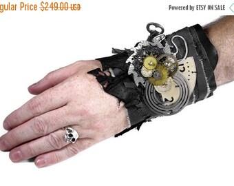 Steampunk Textile Cuff APOCALYPTIC Black Leather MeSH SAW Gear Clock Coils Key Watch PuNK Nihilist Cuff - Steampunk Clothing by edmdesigns