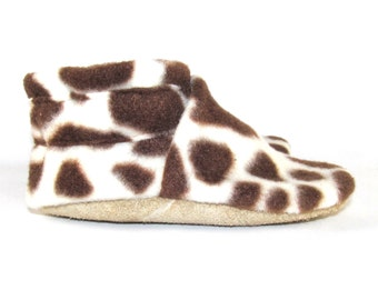 6-12 Month Animal Print Fleece Baby Shoes Slippers by KaBoogie