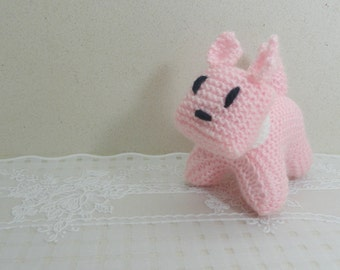 Knitted pink dog knitted pet pets lovers kids baby toy pink dog small dog