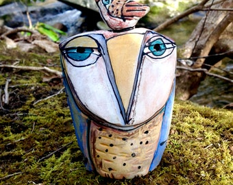 """Owl, handmade one of a kind art,""""Owl Person.Love is All."""" 5"""" tall"""