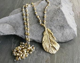 Long Gold Feather Pendant Necklace, Long Beaded Necklace, Long Pendant Necklace, HOLIDAY NECKLACE, Feather Pendant, BOHO Jewelry