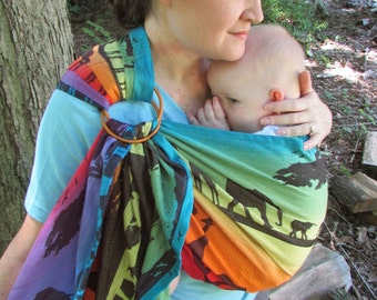 Rainbow Safari Ring Sling Lenny Lamb WCRS wrap conversion - pleated shoulder - DVD/ baby shower gift, baby or toddler carrier, woven sling