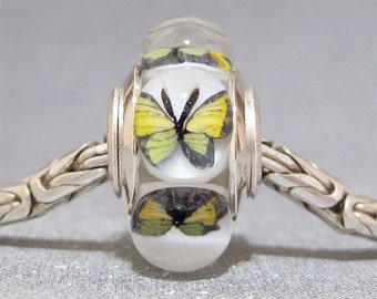 Butterfly Bead Handmade Lampwork Euro Charm Limited Edition Yellow Butterflies