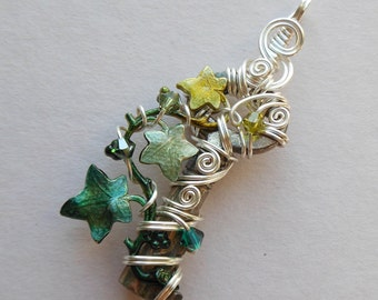 Silver/Green Small Ivy Vine Wire Wrapped Key Pendant -- Green Ivy Leaves, Swarovski Crystals, Silver Wire, Antique Key