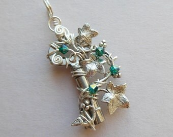 Silver Small Ivy Key Pendant -- Silver Ivy Leaves, Green Swarovski Crystals, Silver Wire, Wire Wrapped Antique Key, Ivy Vine Elf Jewelry