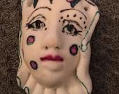 Handmade clay face  goddess    woman doll head  jewelry craft supplies  cabochon  mosaics dolls jewelry craft  spirit