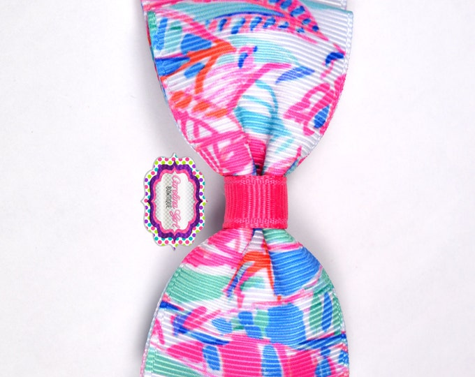 """Out to Sea ~ 3.5"""" Hairbow ~ Lilly Inspired ~ Small Hair Bow ~ Girls Barrette ~ Toddler Bow ~ Hair Clip ~ Girls Hair Bow"""