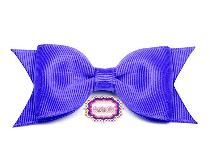 "Periwinkle Tuxedo Bow ~ 3.5"" Hairbow ~ Small Hair Bow ~ Girls Barrette ~ Toddler Bow ~ Baby Hair Bow ~ Hair Clip ~ Girls Hair Bow"