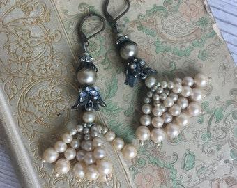 Pearl Tassel Earrings OAK Upcycled Jewelry Vintage Victorian Ornate Baroque