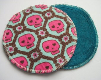 Postpartum Nursing Pads .. Skulls Printed Flannel Cotton and Organic Bamboo Velour FREE Shipping