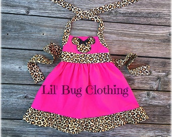 Minnie Mouse Pink Dress, Animal Kingdom Girl Dress, Leopard  Hot Pink Minnie Mouse Birthday Dress, Minnie Mouse Girl Clothes