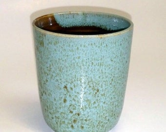 Robin's Egg Blue Juice Glass with Amber Interior - Wheel Thrown Pottery