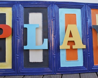 Play Sign-  2x4 Ceiling Tin with Metal PLAY Letters