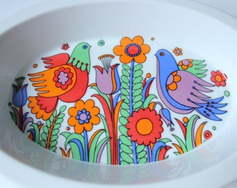 Vintage Royal Crown porcelain baking/serving dish - colorful birds and flowers - Paradise pattern