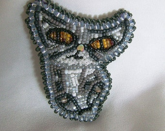 Bead Embroidery Grey Cat