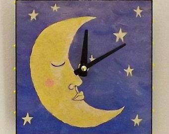 Crescent Moon Clock, Moon Clock, Home Decor, Yellow, Housewares, Modern, Contemporary