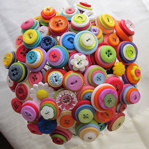 Custom Colorful Rainbow Button Bouquet