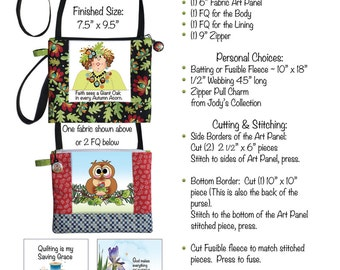 """Downloadable Pattern - Crossbody Purse with 6"""" Art Panel"""