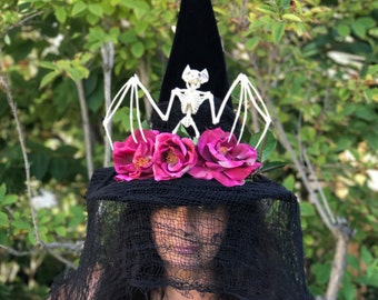 Witch Hat Halloween Elegant Victorian Bat Witches Hat, Adult Witch Costume