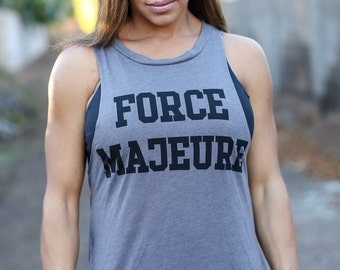 FORCE MAJEURE/ Backless Lounge Muscle Tank/ Flowy Muscle Tank/ Made in the USA/ One Size/ Workout Tank Lounge Tank/ Backless Lounge Tank