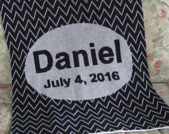 Personalized Knit Baby Blanket - Chevron with Oval