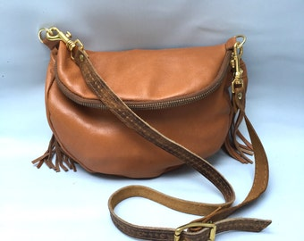 Alberta leather bag in caramel -SALE