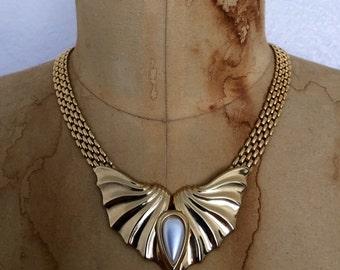 vintage GATSBY choker / 1970s ARTDECO necklace / gold tone