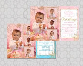 Winter ONEderland First birthday invitation - one-derland - snowflake Custom photo 5x7 invite - printable diy digital pictures