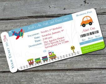 Transportation  Birthday Invitation -  Boarding Pass Invite  - Planes, trains and automobiles, cars, airplane digital file