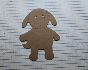 3 Bare chipboard cute puppy dog die cuts 3 3/4 inches wide x 4 7/8 inches tall