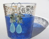 Aqua Chalcedony Aquamarine Tourmaline Sterling Silver Cluster Dangle Earrings
