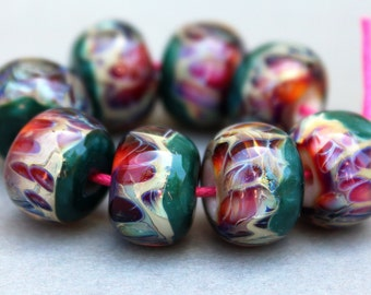 Boro Beads - Borosilicate Lampwork Beaads - Shimmer Green and Purple